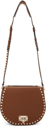 Valentino Brown Garavani Small Rockstud Saddle Bag