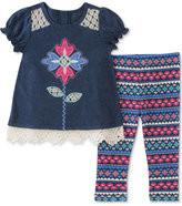 Kids Headquarters 2-Pc. Lace-Trim Flower Tunic and Leggings Set, Baby Girls (0-24 months)