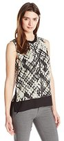 Vince Women's Basket Weave Print Double Layer Shell