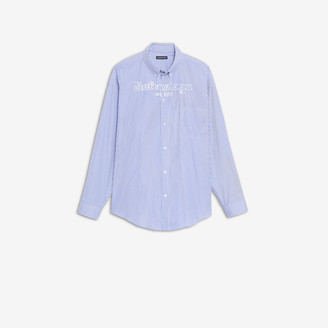 Balenciaga EST. 1917 Long Sleeves Button Down Shirt in blue and white college stripe cotton poplin