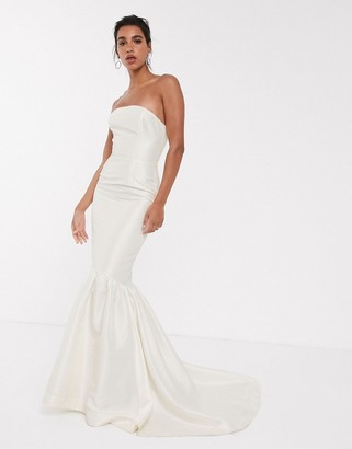 Asos Edition EDITION bandeau wedding dress with trumpet hem-Cream