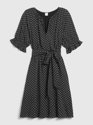 Gap Short Ruffle Sleeve Print Dress
