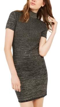 Planet Gold Juniors' Metallic Mock-Neck Dress