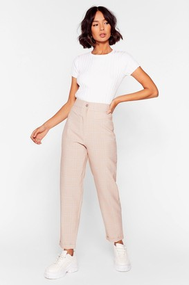 Nasty Gal Womens Check Me Out High-Waisted Tapered Pants - Beige