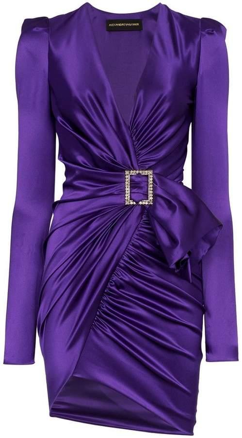 Alexandre Vauthier V-neck crystal buckle silk blend mini dress