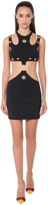 Fausto Puglisi Cut Out Jersey Mini Dress W/studs Detail