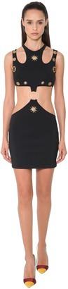 Fausto Puglisi Cut Out Jersey Mini Dress W/Studs Detail