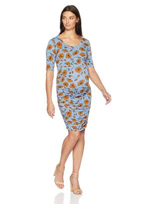 Motherhood Maternity Women's Maternity Elbow Sleeve Side Ruched Tee Shirt Dress