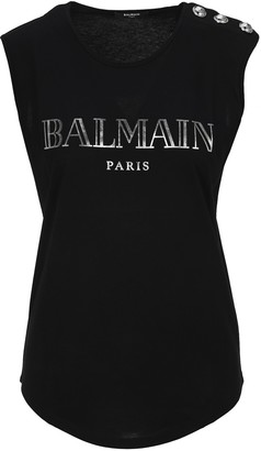 Balmain Logo Print Sleeveless Top