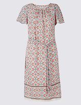 Classic Printed Tie Waist Tunic Midi Dress