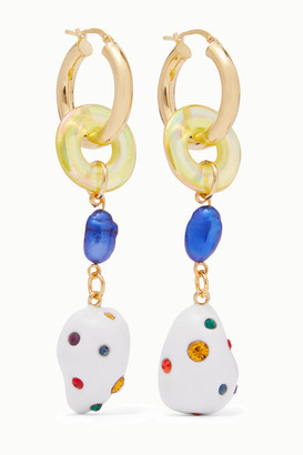 Mounser Gold-plated Glass, Pearl And Crystal Earrings - White