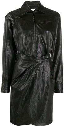 BA&SH faux leather shirt dress