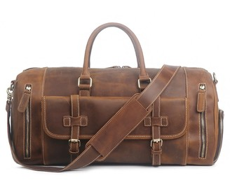 Touri Genuine Leather Boot Bag With Front Pocket In Dark Tan