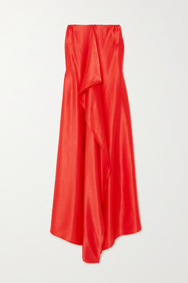 BERNADETTE Betsy Strapless Draped Silk-satin Maxi Dress - Red