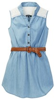 My Michelle mymichelle Sleeveless Denim Belted Dress (Big Girls)