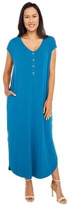 Mod-o-doc Cotton Modal Spandex Short Sleeve Henley Maxi Dress (Oceano) Women's Clothing