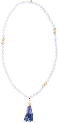 BUDDHA MAMA 20kt Yellow Gold, Diamond And Chalcedony Bead Necklace