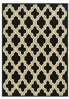Linon Le Soliel Collection Black Quatrefoil Outdoor Rug (2' x 3')