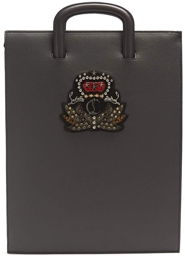 Christian Louboutin Trictrac large embellished leather document holder