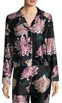 Fleur Du Mal Printed Long Sleeve Silk Pajama Top