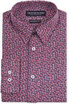 Nick Graham Men's Modern Fitted Navy & Red Floral Print Dress Shirt