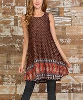 Celeste Rust & Red Lattice Swing Dress - Plus