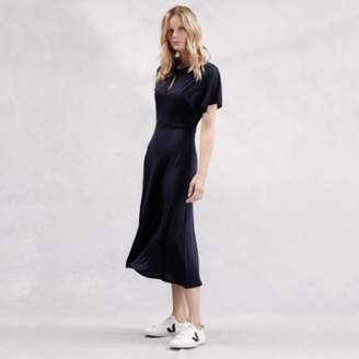 The White Company Twist Neck Midi Dress, Navy, 8