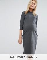 Mama Licious Mama.licious Mamalicious Pinstripe High Neck Dress