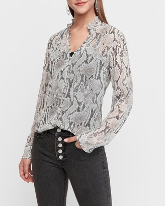 Express Slim Fit Sheer Snakeskin Print Ruffle Portofino Shirt