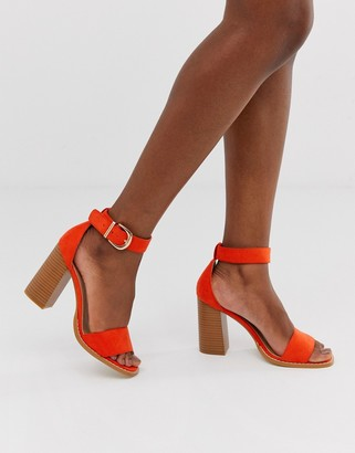 RAID Fleur orange stacked block heeled sandals