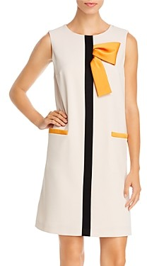 Paule Ka Sleeveless Bow Detail Shift Dress