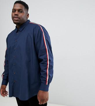 Jacamo long sleeve shirt with taped sleeve-Navy