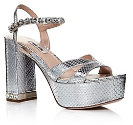 Miu Miu Women's Crystal Embellished Platform Sandals