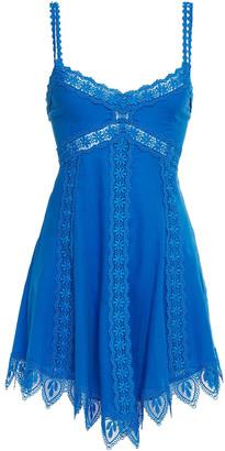 Charo Ruiz Ibiza Lotta Crocheted Lace-trimmed Shirred Cotton-blend Voile Mini Dress