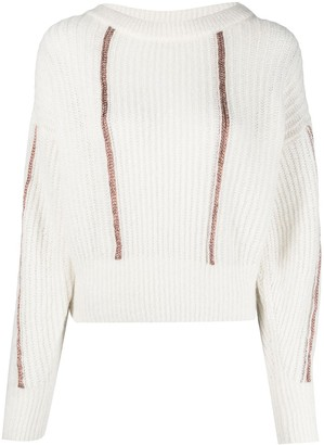 Pinko Metallic-Effect Purl-Knit Jumper