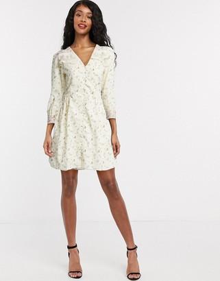 Object mini tea dress in cream floral