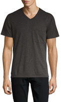 7 For All Mankind Short Sleeve Raw V-Neck Tee