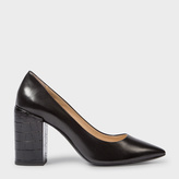 Paul Smith Women's Black Leather 'Lin' Shoes With Mock Croc Heels