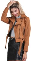 Simplee Apparel Women's Long Sleeve Side Zipper Faux Suede Jacket Coat Brown