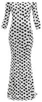 Norma Kamali Off-the-shoulder Polka-dot Print Jersey Maxi Dress - Womens - White Black