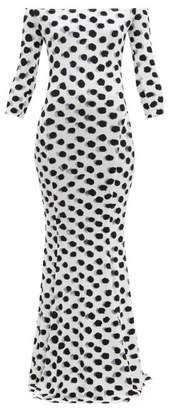 Norma Kamali Off The Shoulder Polka Dot Print Jersey Maxi Dress - Womens - White Black