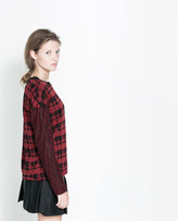 Zara Checked Sweater With Contrasting Sleeves