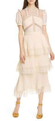 Self-Portrait Puff Sleeve Tiered Pleated Maxi Dress