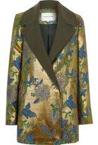 River Island Womens Gold jacquard floral blazer coat