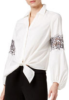 I.N.C International Concepts Lace-Inset Tie-Front Shirt