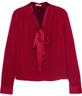 Alice + Olivia Irma Pussy-bow Silk-georgette Blouse - Claret