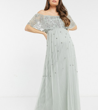 Maya Maternity embellished bardot maxi dress in sage green