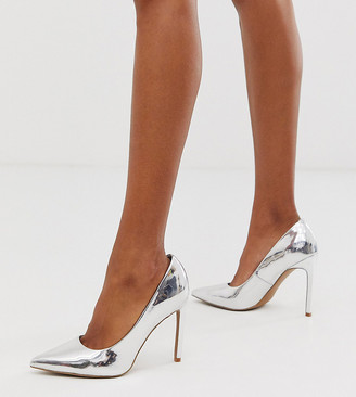 ASOS DESIGN Porto pointed high heeled court shoes in silver