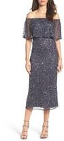 Pisarro Nights Women's Beaded Off The Shoulder Midi Dress