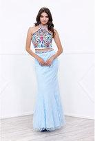 Unique Vintage Aqua Blue Two Piece Lace Halter Top Long Dress
